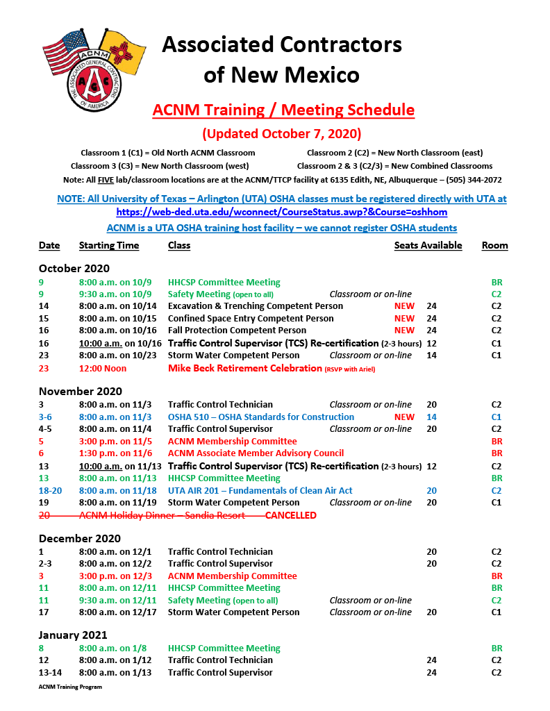 ACNM Training Meeting Schedule - 10-7-201024_1