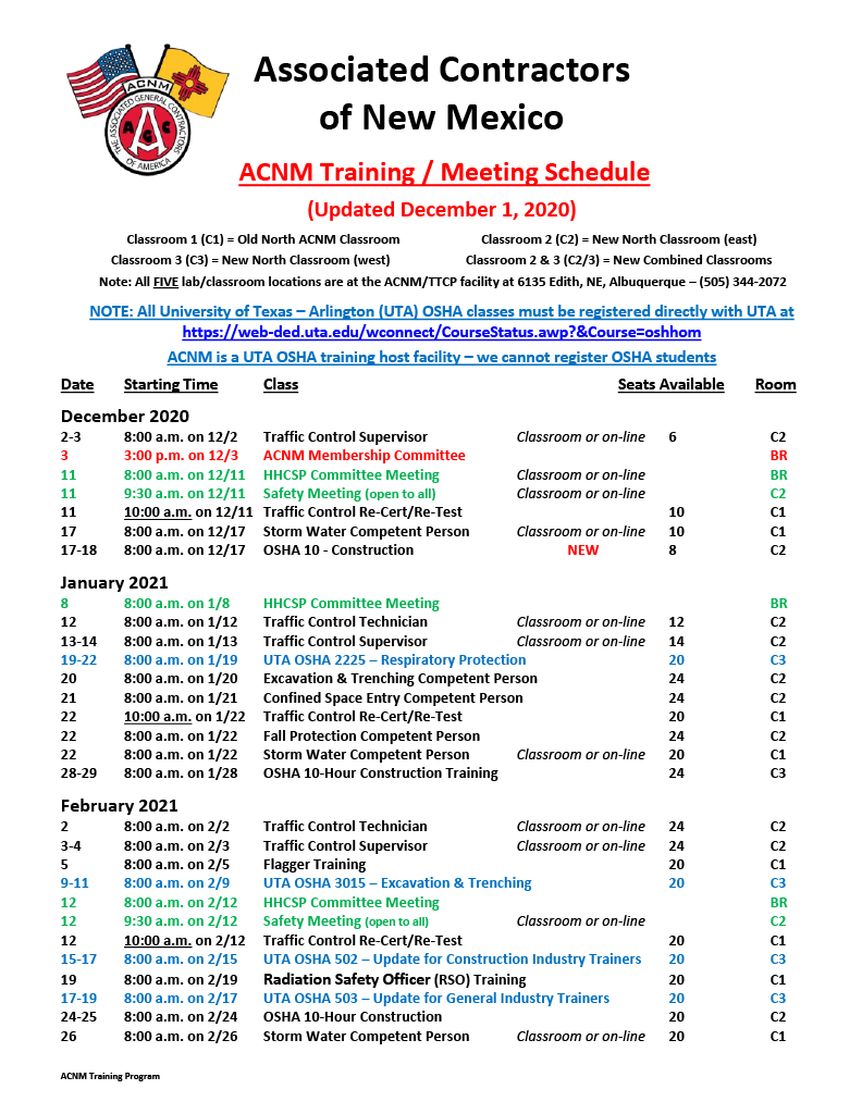 ACNM Training Meeting Schedule - 12-1-201024_1