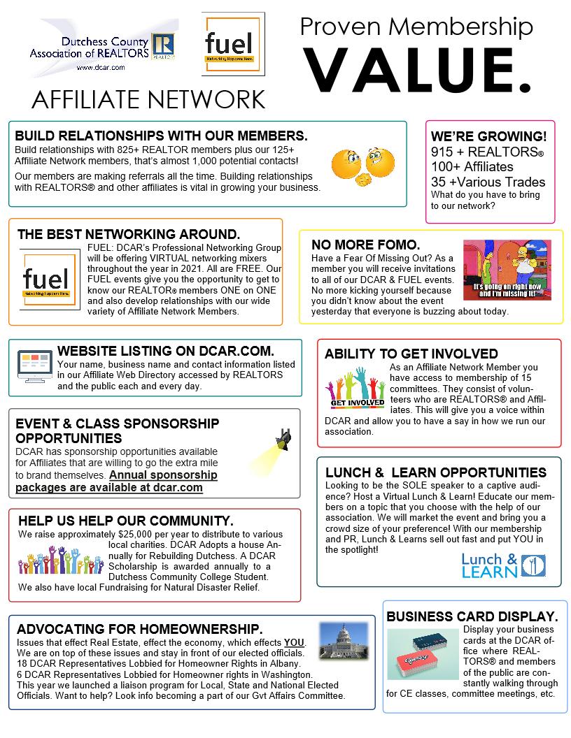 Affiliate Member Benefits