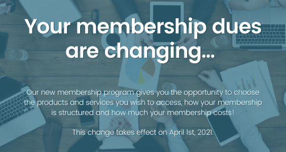 Membership Dues Changing Graphic with text