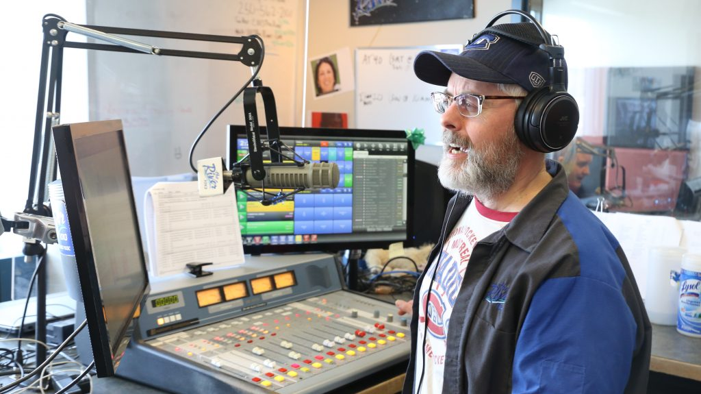 Person in a radio booth