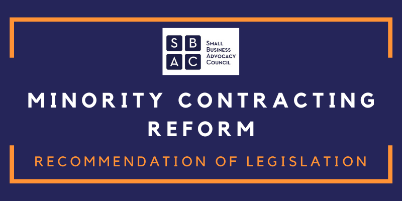Recommendation for Legislation - Minority Contracting