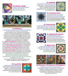 2020 Barn Quilt Trail Brochure 7 FINAL Quilts 40 - 50