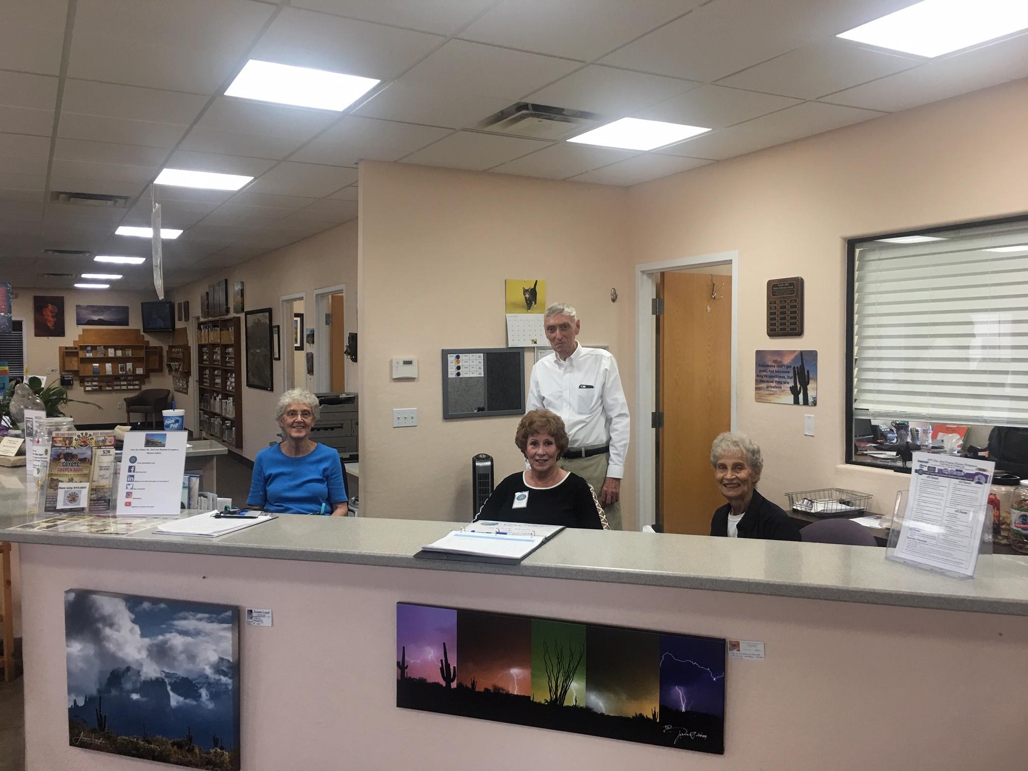 Visitor Center Main Desk and Volunteer Staff