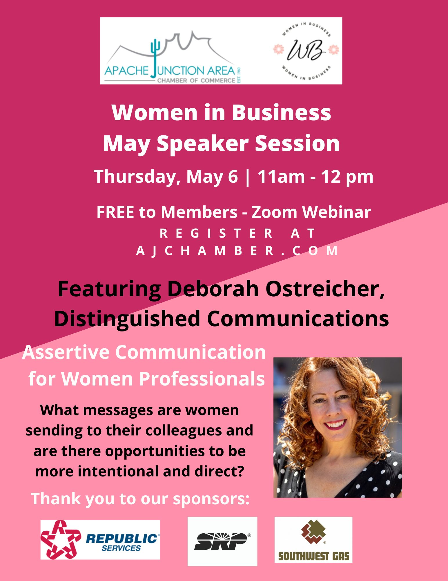 WIB May Speaker Session Flyer