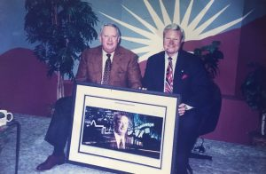 Joe Callahan receiving an award for his development of Hacienda and other civic improvements. With Brad Hirst in 1997
