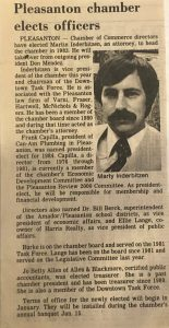 Newspaper announcement of Marty Inderbitzen as 1983 board chair
