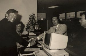 Office setting in the 1980s