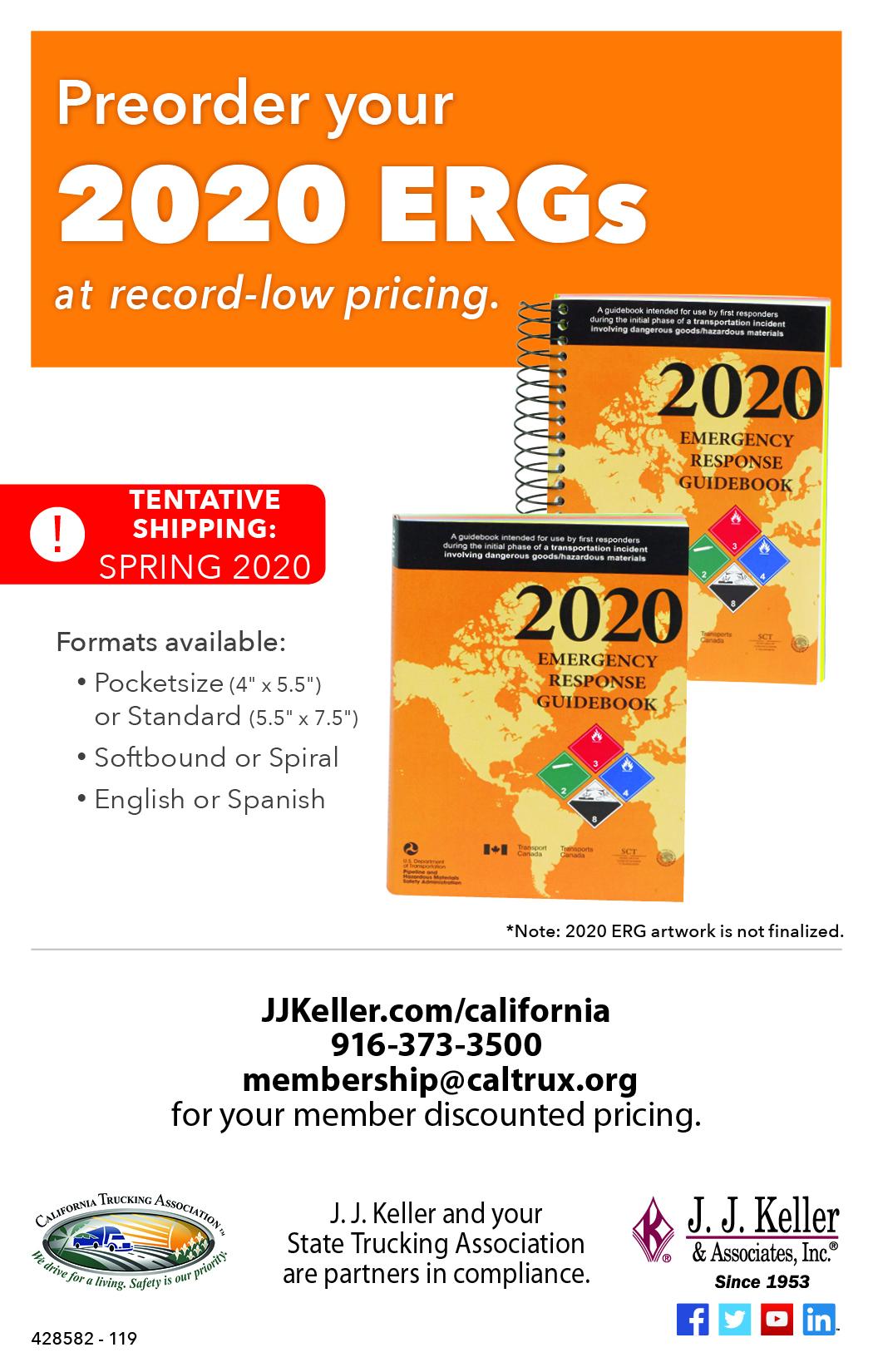 JJ Keller 2020 Emergency Response Guidebook (ERG) Ad