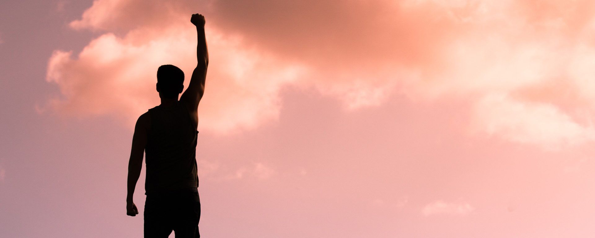 silhouette of man with arm/fist in the air