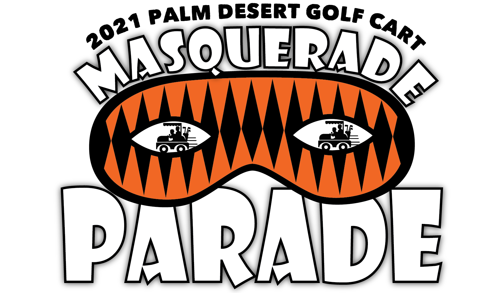 2021 Palm Desert Golf Cart Masquerade Parade.Yellow dotted backdrop.Orange and Black eye mask with black golf carts inside the eye openings.