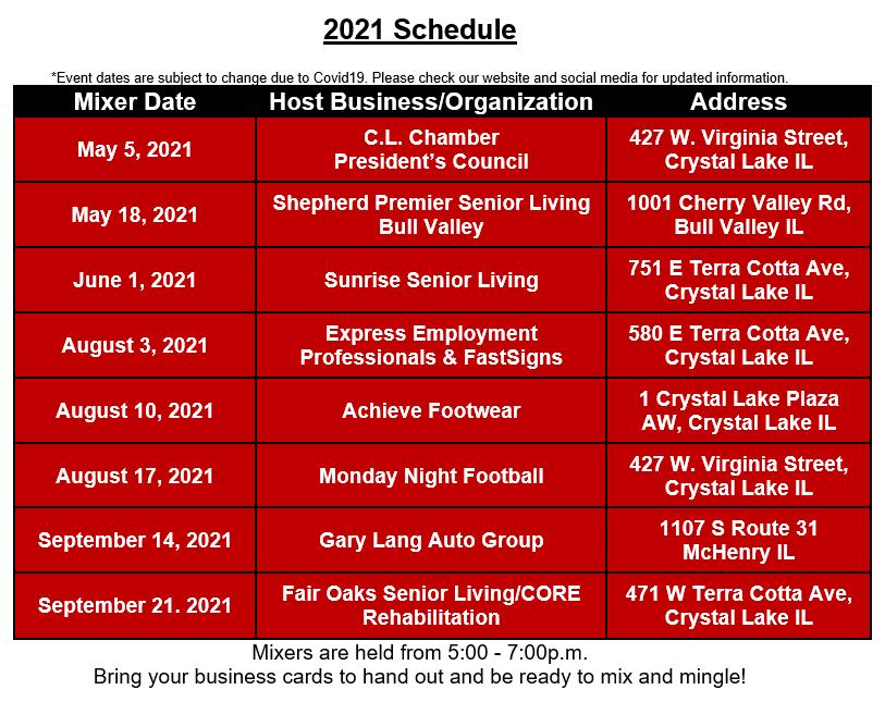 2021 mixer schedule
