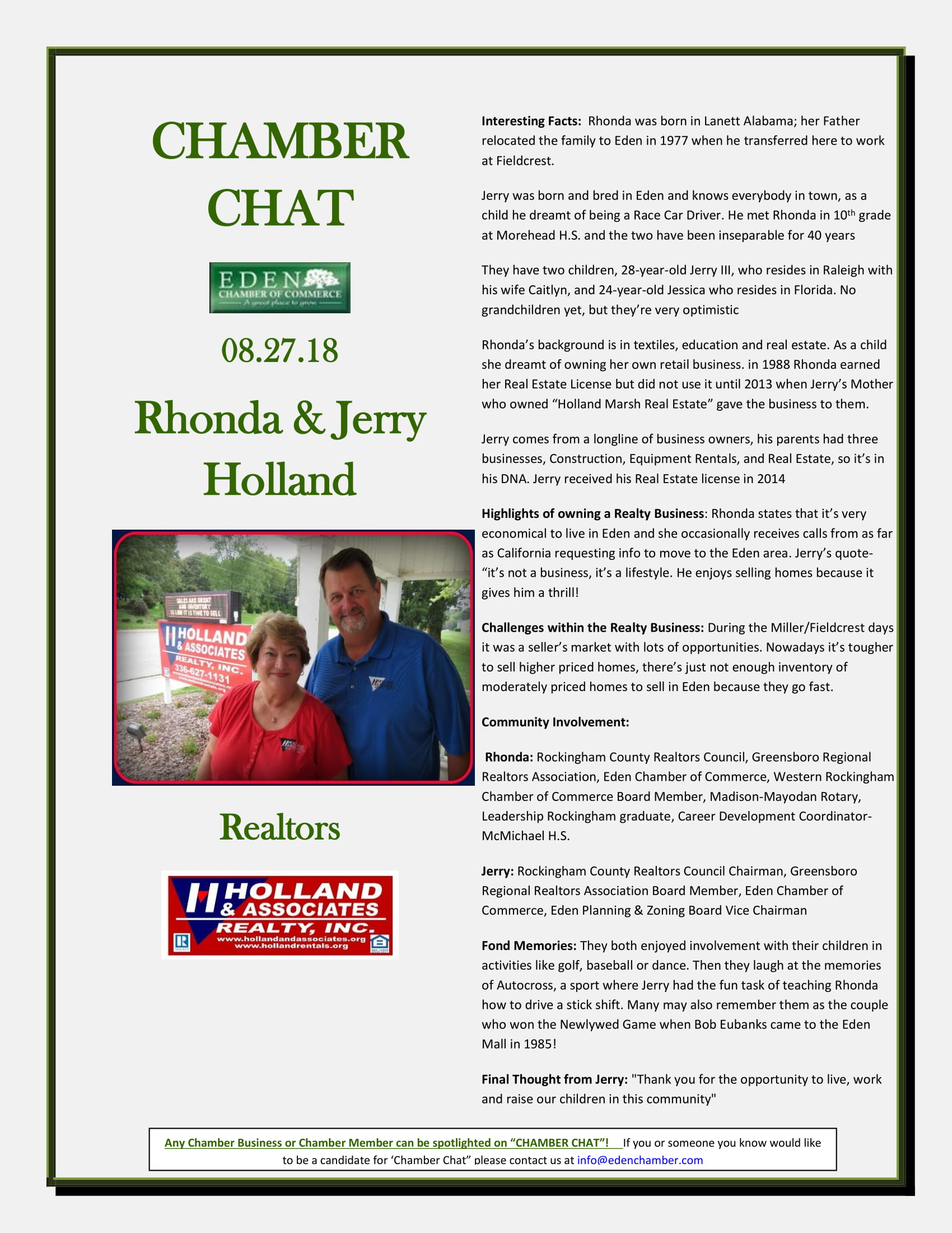 CHAMBER-CHAT--Holland-Realty--Rhonda-and-Jerry-08.27.18-1