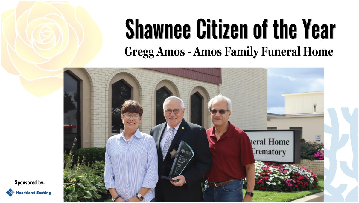 Gregg Amos pictured with Kathy Peterson (L) of Heartland Seating and Mickey Sandifer (R), the previous Shawnee Citizen of the Year.