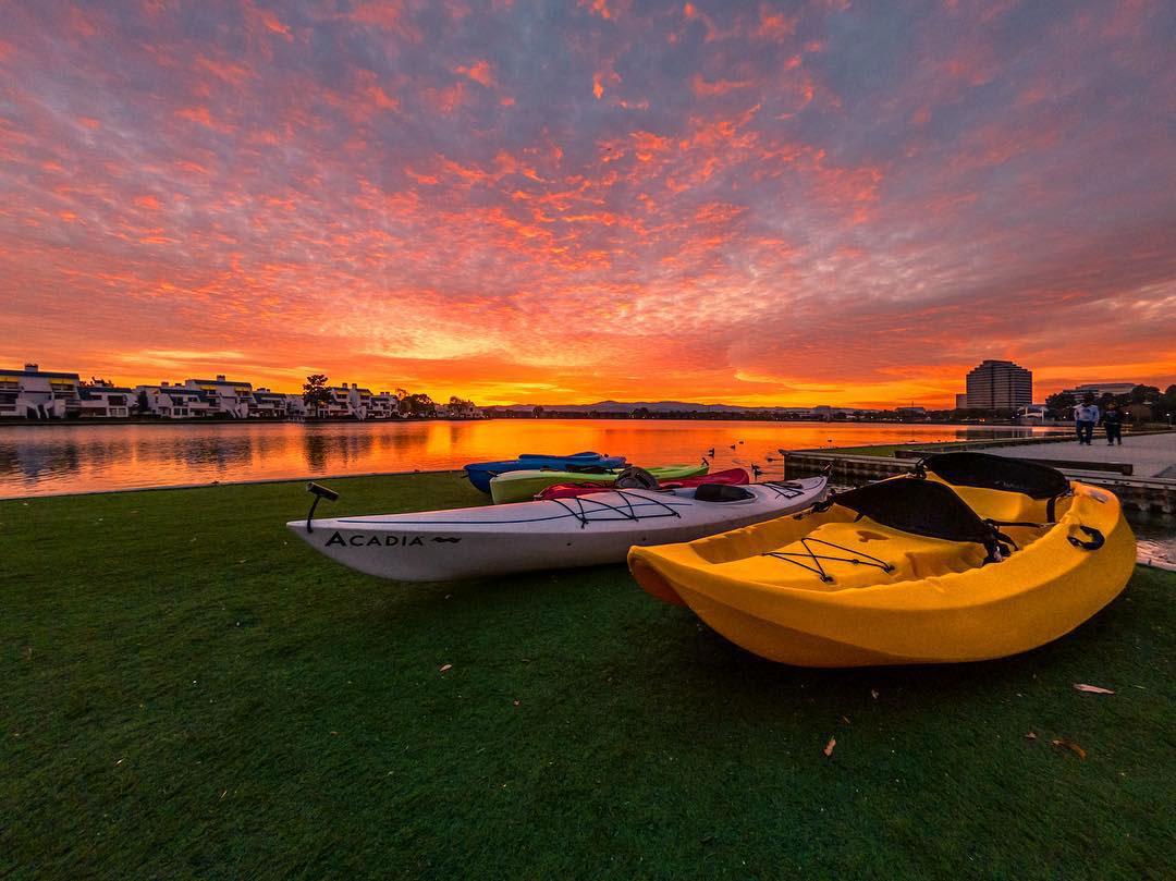 Two Kayaks, lake sunset