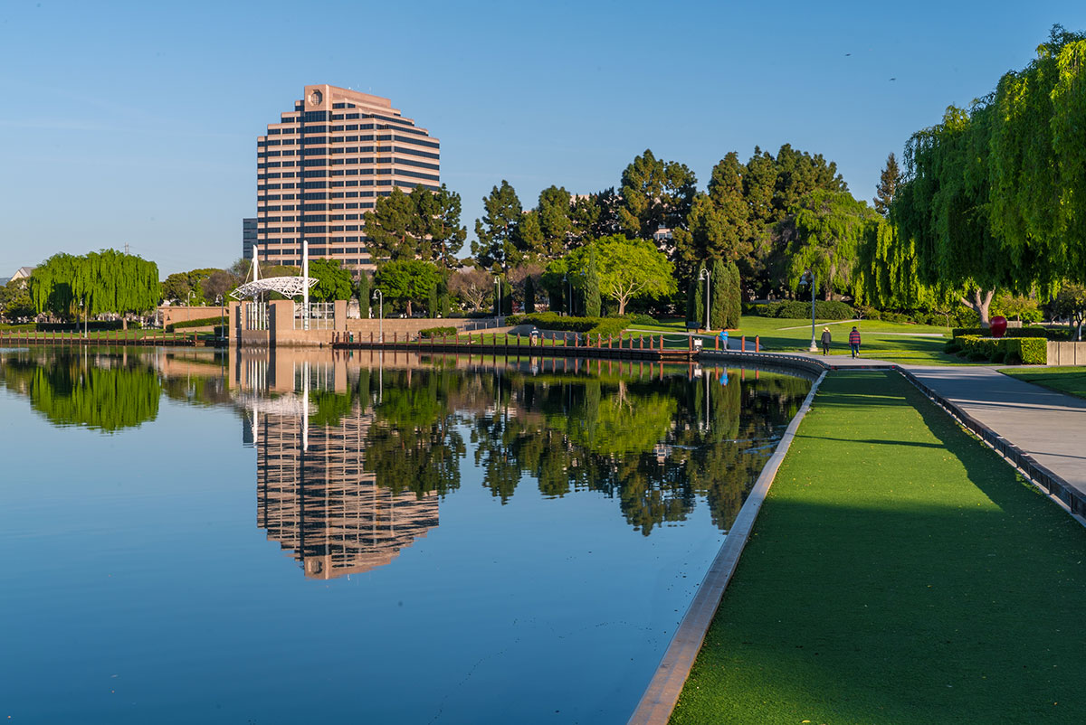 scenic view of lake and buildings