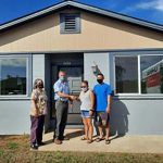 Realtors Association of Maui member and Na Hale O Maui executive director Cassandra Abdul, Na Hale O Maui board president David Ward and new happy homeowners Jamie Potter-Kekiwi and Jefferson Hatanaka. Na Hale O Maui is a volunteer- and membership-based organization that puts affordable homeownership within reach of Maui County residents by securing and preserving a permanent supply of affordable housing alternatives.
