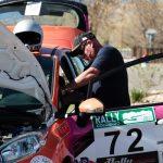 rally car at pit stop