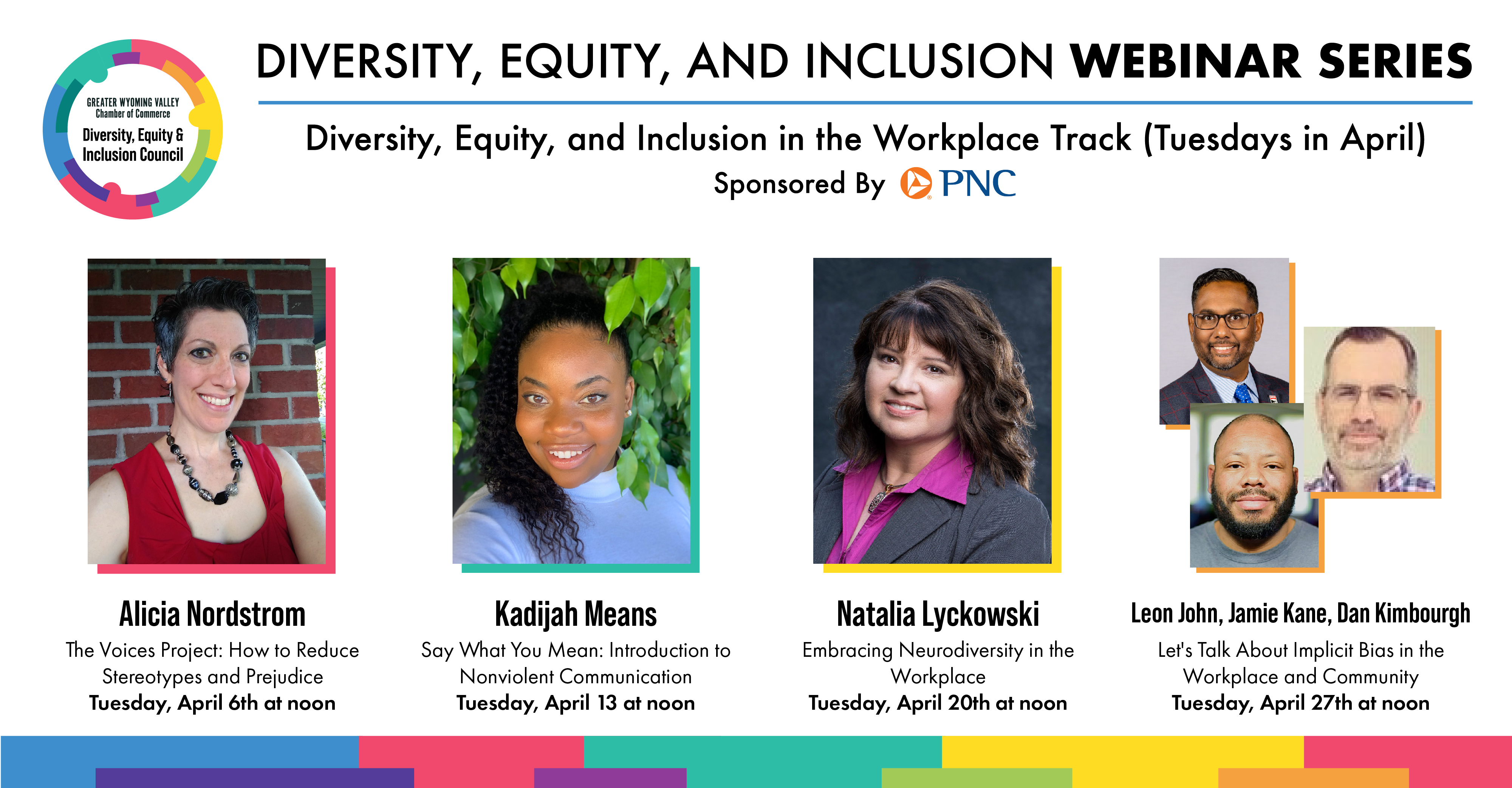 Diversity, Equity, and Inclusion Webinar Series Tuesday Speakers Graphic