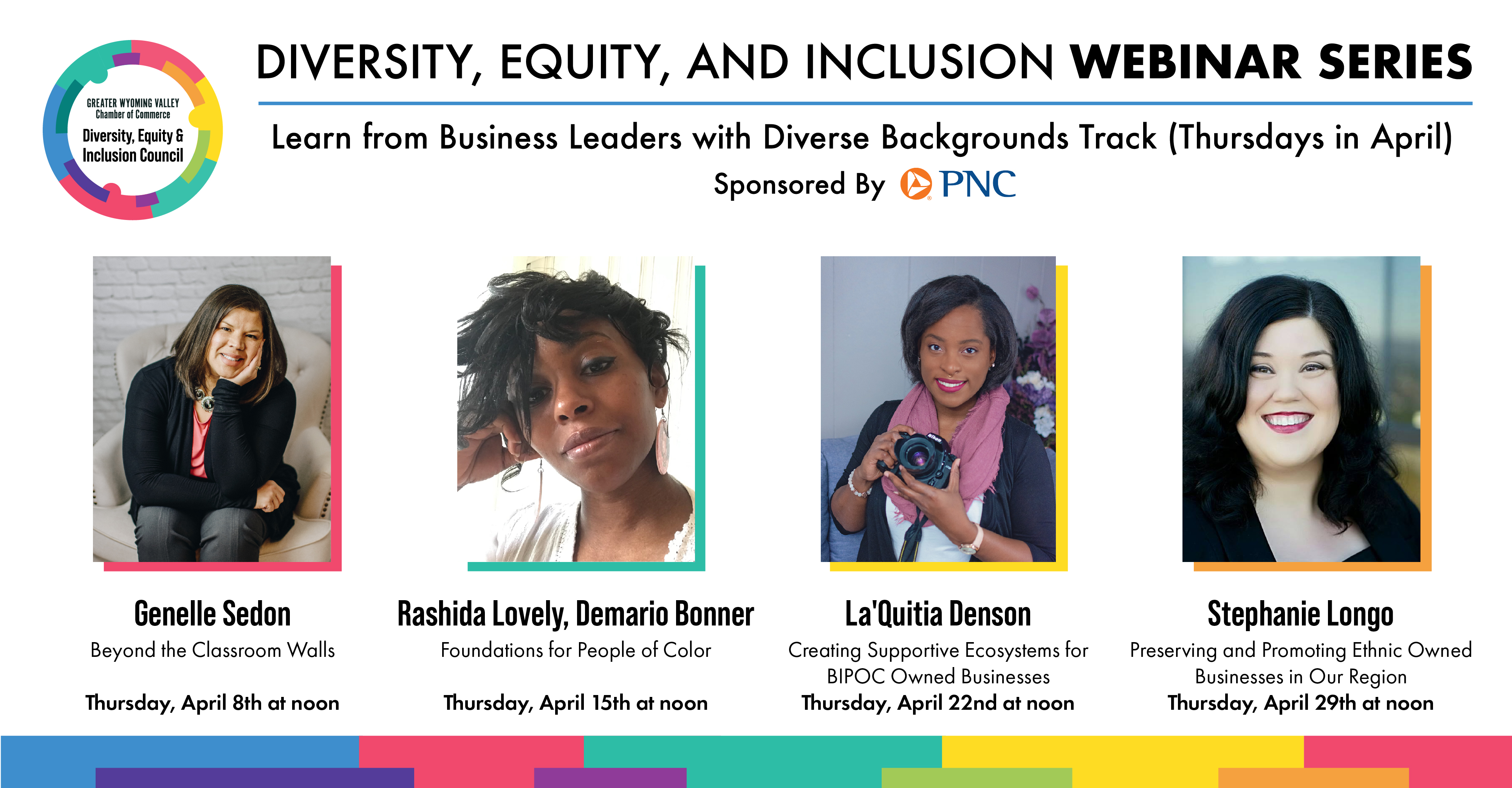 Diversity, Equity, and Inclusion Webinar Series Thursday Speakers Graphic