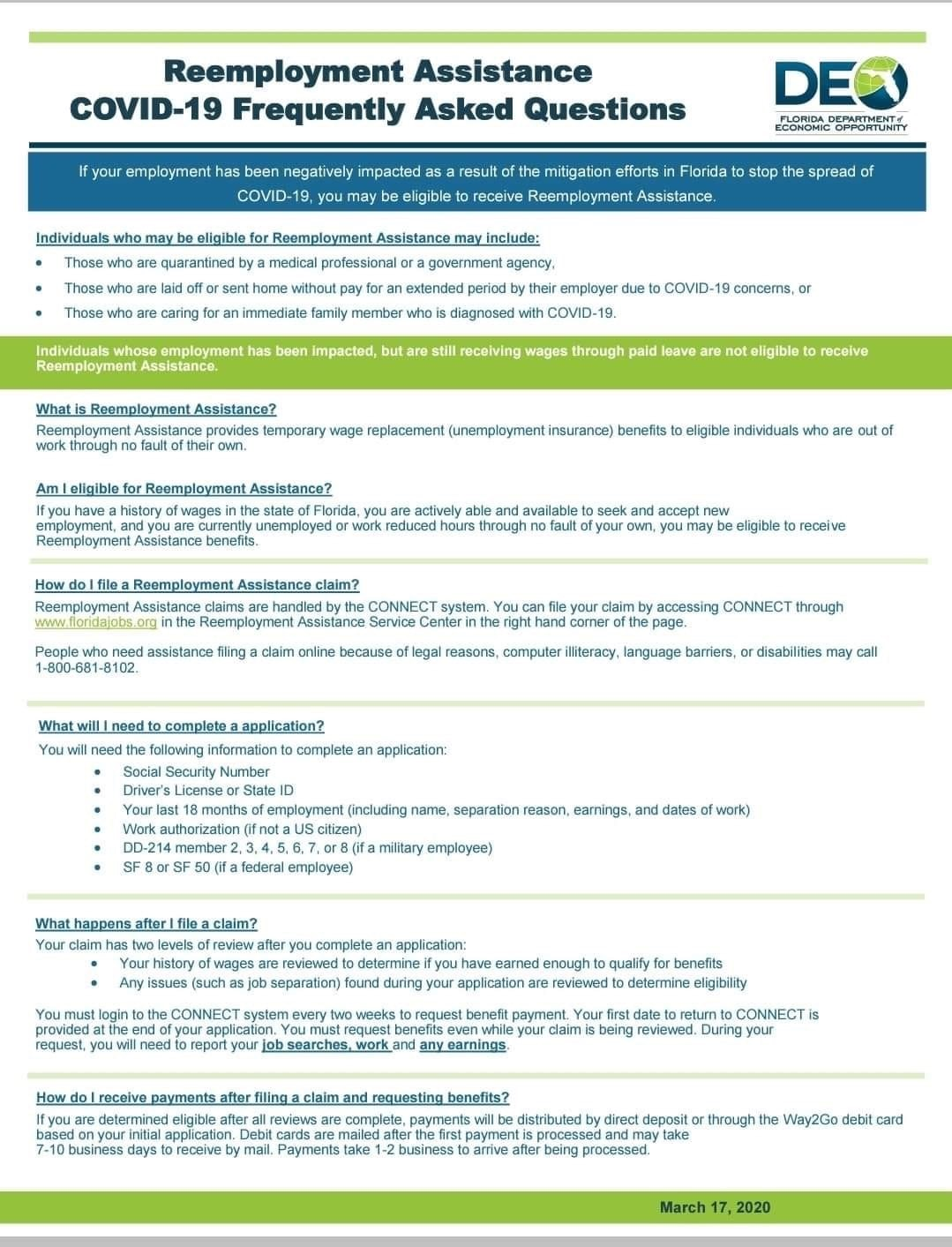 Reemployment Assistance COVID-19 Frequently Asked Questions