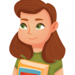 full color illustration of high school girl