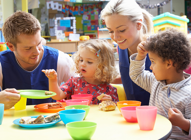 kids and colorful plates with adults