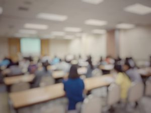 Blurred conference session