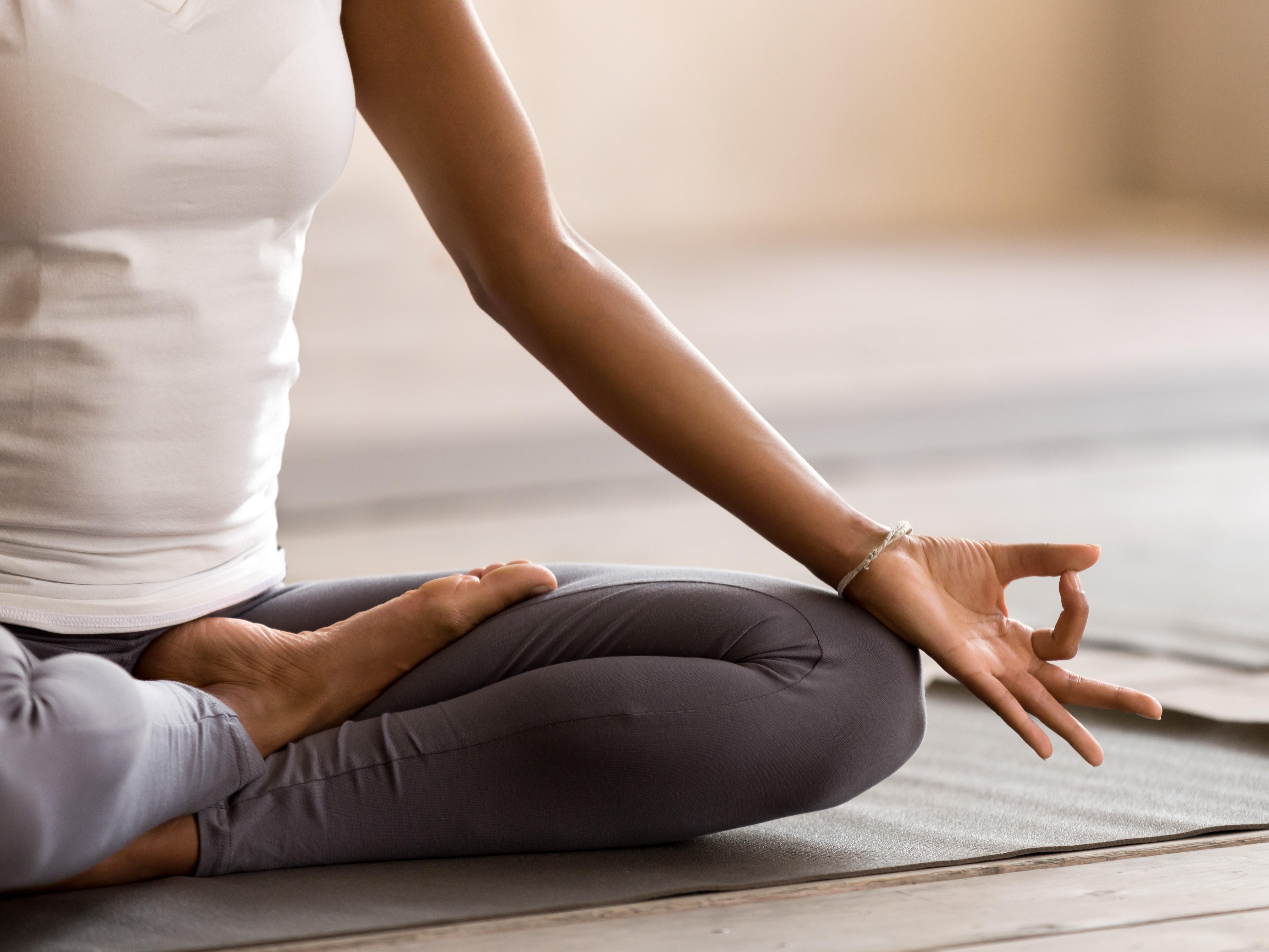Yogi,Black,Woman,Practicing,Yoga,Lesson,,Breathing,,Meditating,,Doing,Ardha