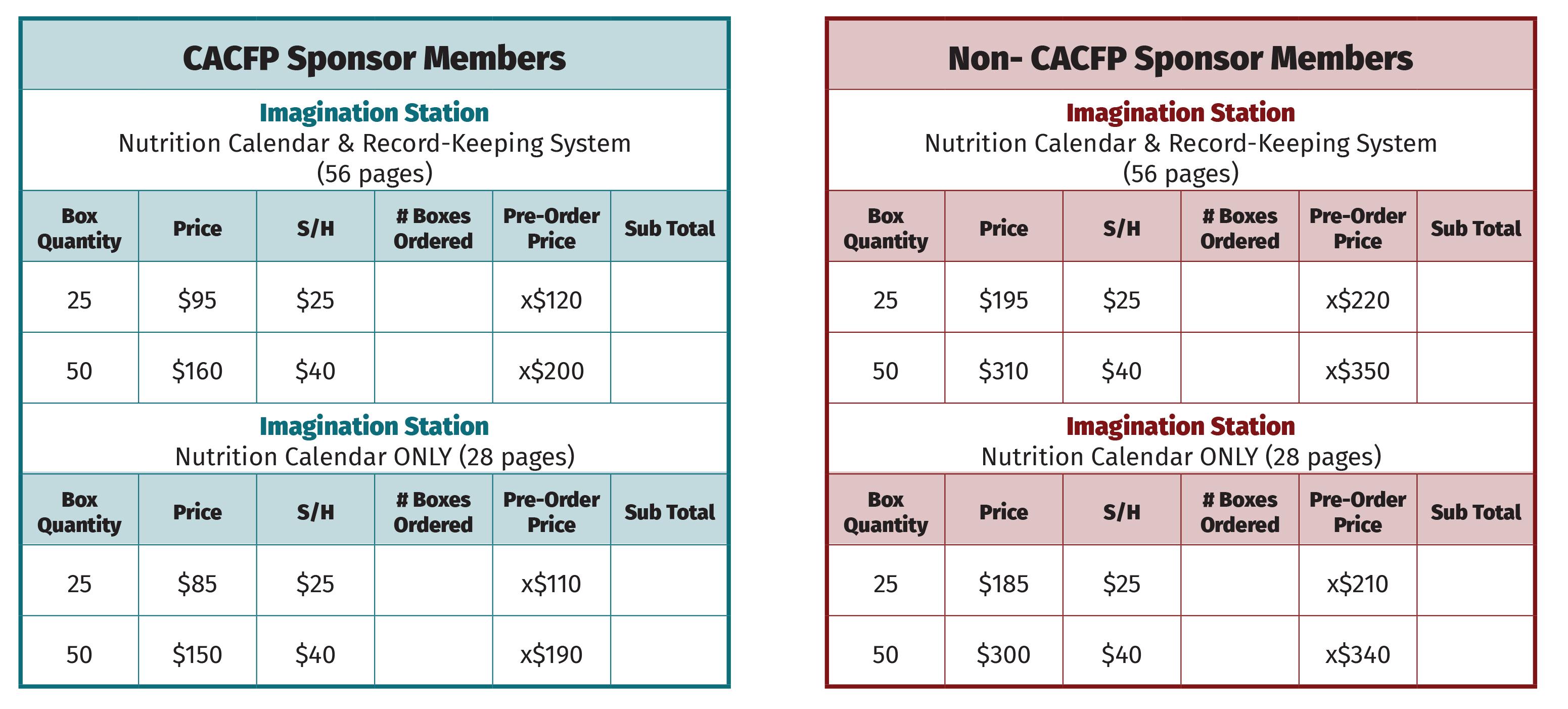 Calendar Pricing Table