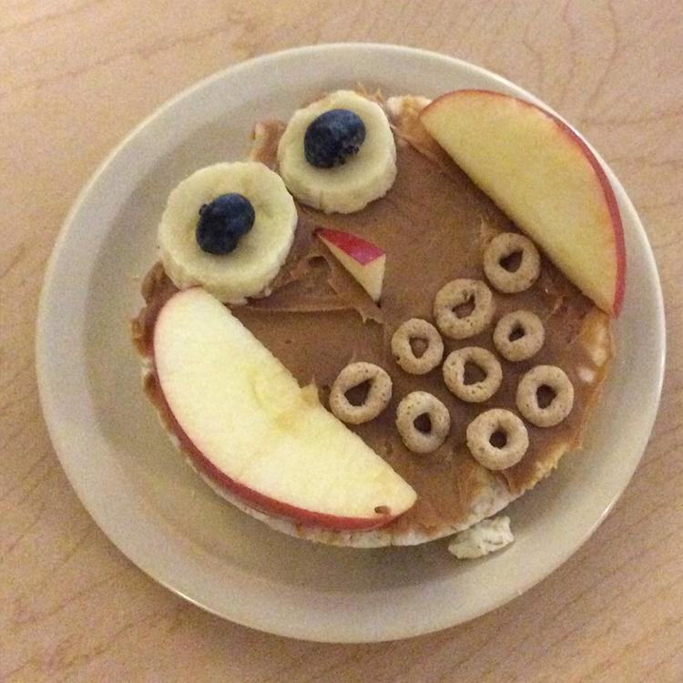 BRAD Child Development Programs - rice cakes pb and fruit owls