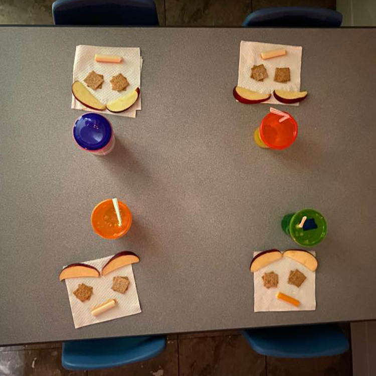 Busy Bees Daycare - Apple cracker and cheese sticks