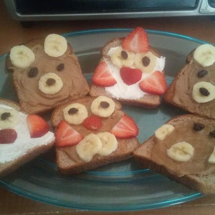 Mountain Rise Daycare - Toast PB and fruit animals