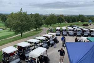 golf carts on golf course