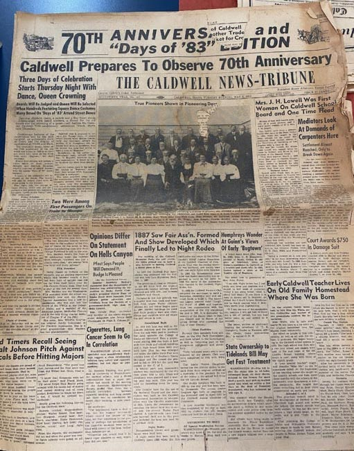 A 1953 Caldwell News-Tribune article about Caldwell's 70th Anniversary.
