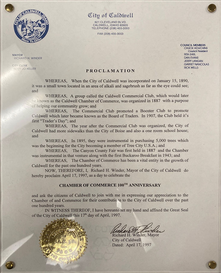 City of Caldwell Proclamation April 17, 1997