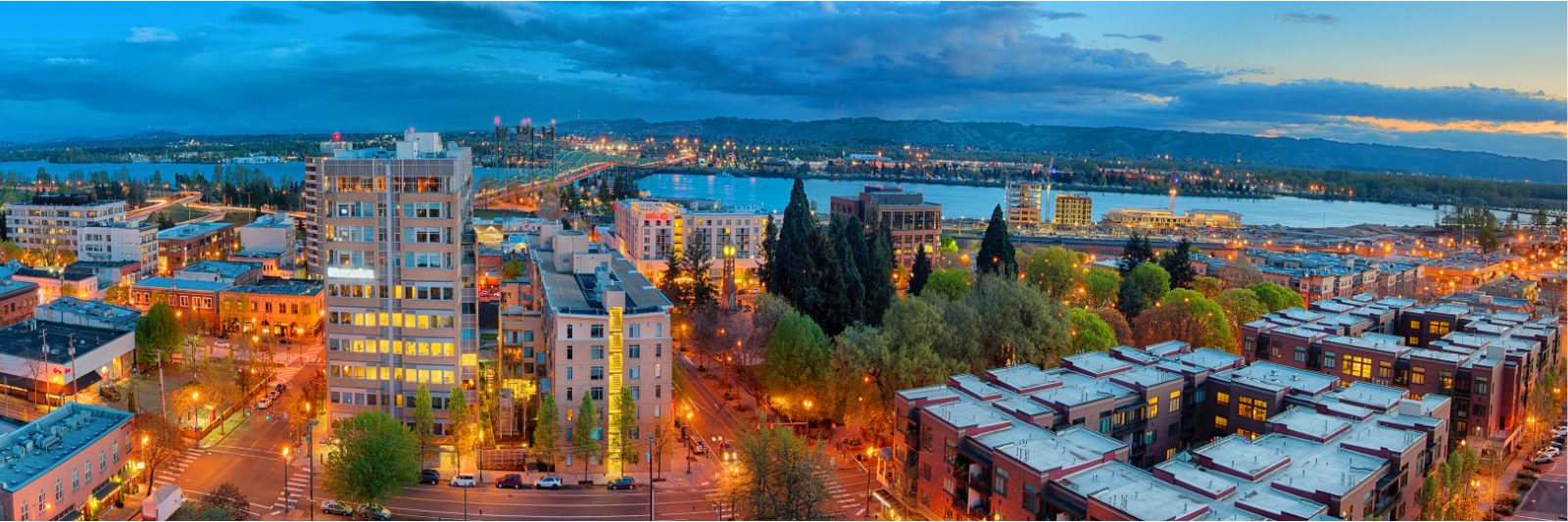 Image of downtown Vancouver Washington at dusk looking south towards the Columbia River.