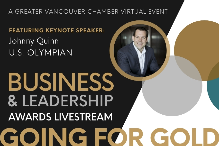 """The 2021 Business and Leadership Awards virtual event presentation title slide showing the keynote speaker U.S. Olympian Johnny Quinn with the title, """"Going For Gold"""" below his portrait."""