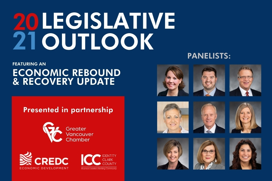 2021 Legislative Outlook presentation slide deck that shows logos for presenting sponsors and portraits of the 2021 Washington State Legislative representatives for Clark County featuring an economic rebound and recovery update.