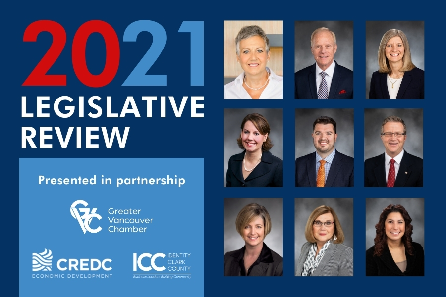 2021 Legislative Review presentation slide deck that shows logos for presenting sponsors and portraits of the 2021 Washington State Legislative representatives for Clark County
