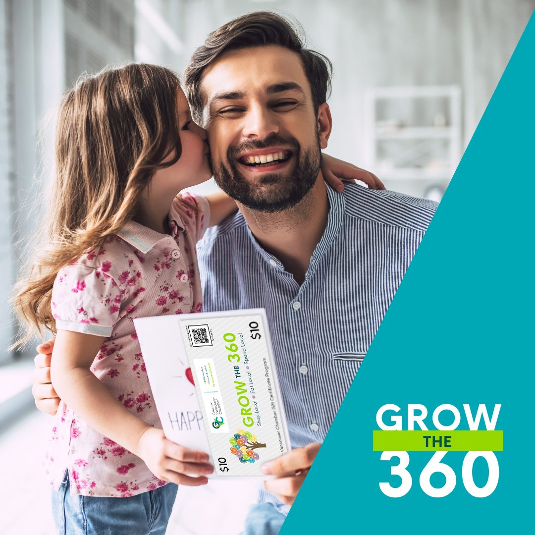A smiling man crouched down next to his young daughter who is giving him a kiss on his cheek while he is holding a gift certificate in his hand.