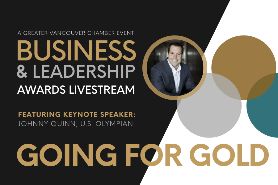 Business and Leadership Awards banner with Johnny Quinn in a suit
