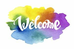 Welcome hand drawn lettering against watercolor background. EPS 8 vector