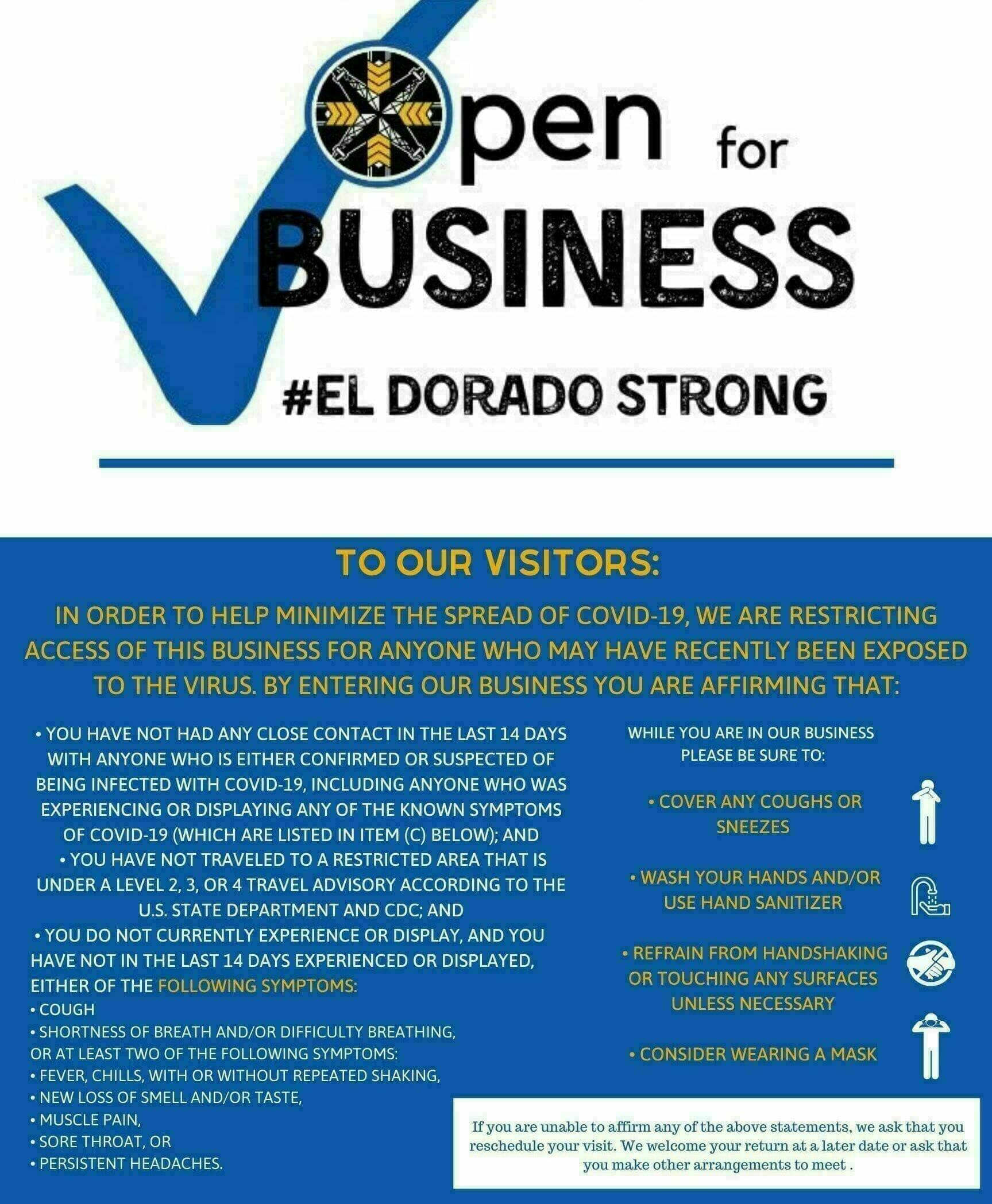 Open For Business #El Dorado Strong