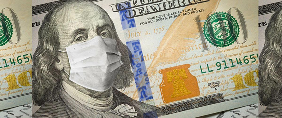 100 dollar bill with mask on Benjamin Franklin