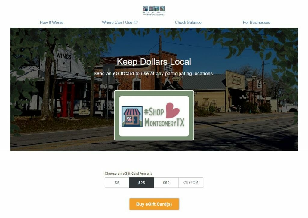 Gift Card Web Page