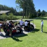 Garry with Golfers in Carts