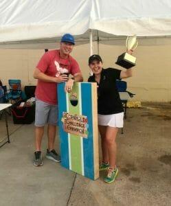 """The Hole Enchilada"" 2021 Cornhole Challenge Champions from Valliance Bank"