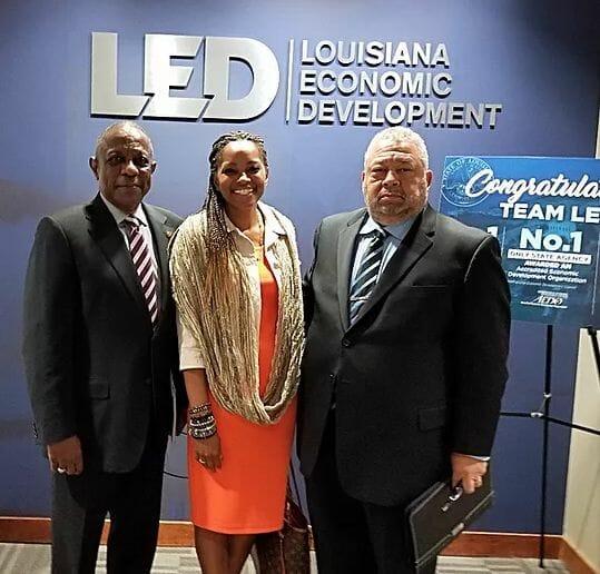 LED Senior Director John Matthews with LCCF's Kelisha Garrett & David St. Etienne