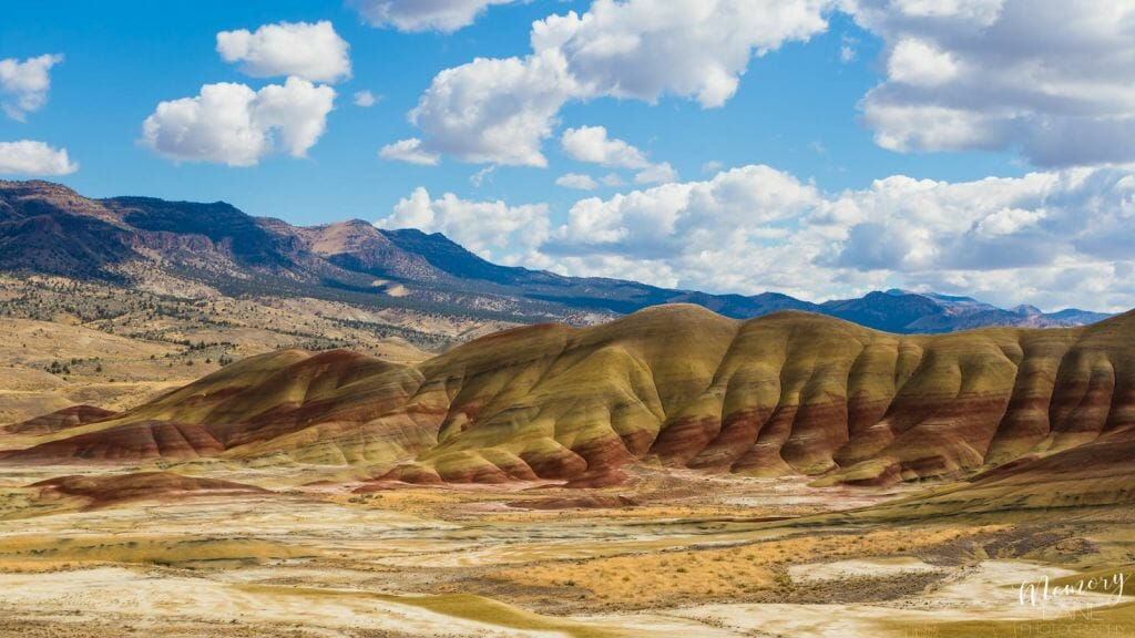 colorful hills and bright sky